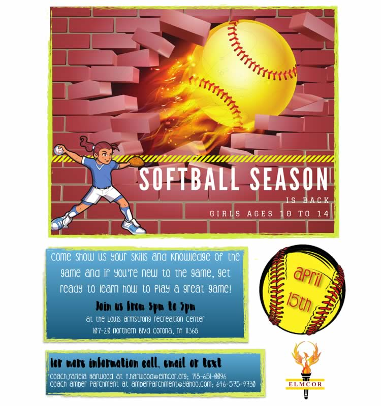 Softball Season 2017 at Elmcor Youth and Adult Activity in Queens New York