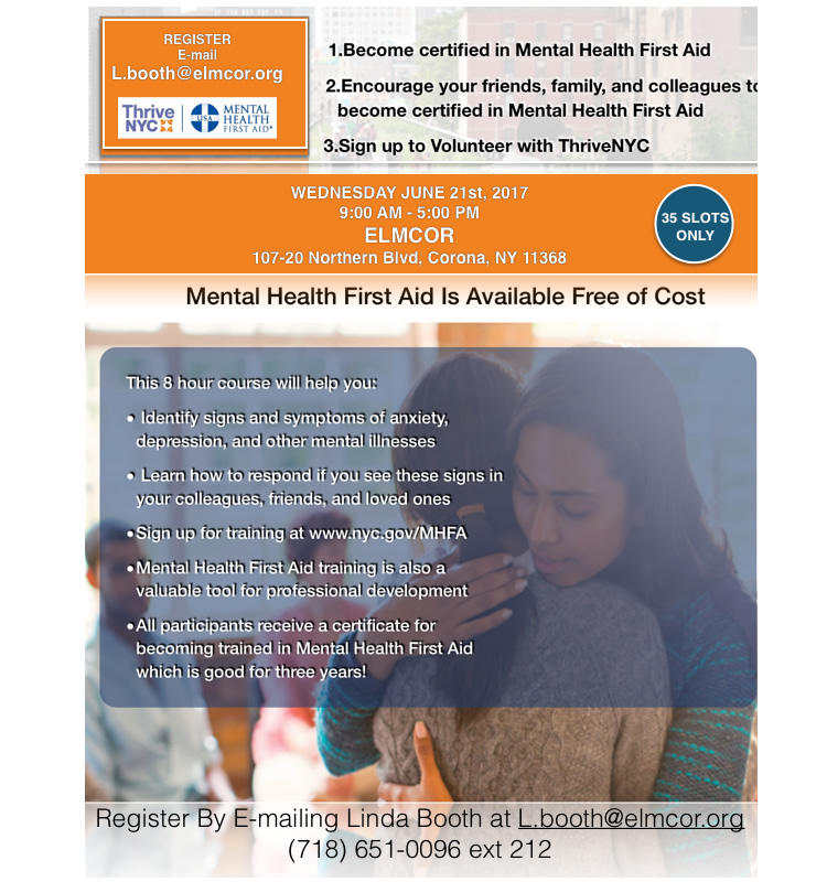 Become Certified In Mental Health First Aid Elmcor Youth And Adult