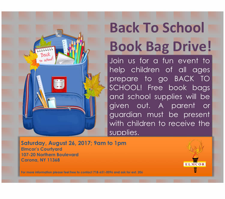 Elmcor's Back to School Book Drive 2017