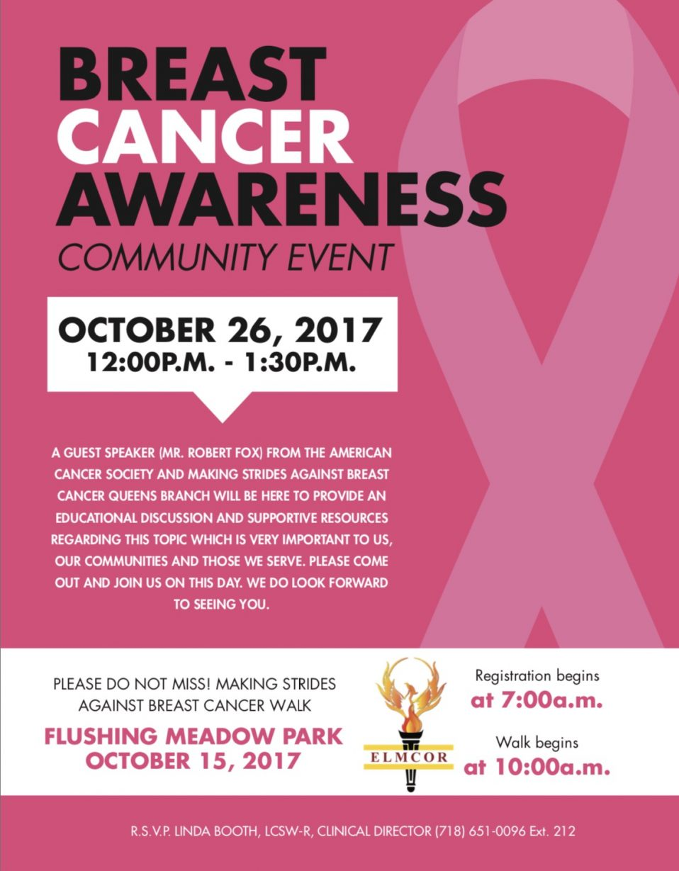 Breast Cancer Awareness at Elmcor, Corona Queens, New York