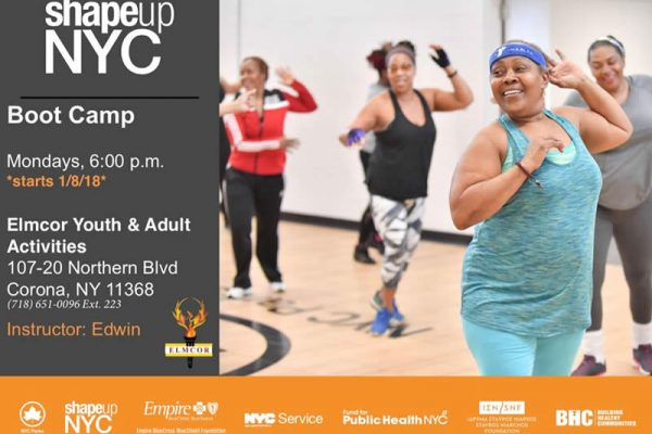 shapeup NYC boot camp being held atElmcor Youth & Adult Activities, Inc.