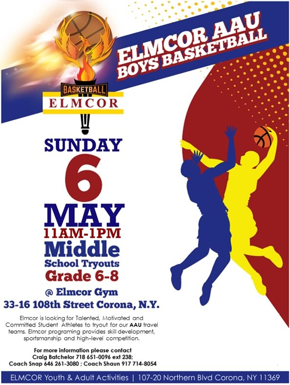 Elmcor AAU Boys Basketball Middle School Tryouts Grade 6-8 Elmcor Gym