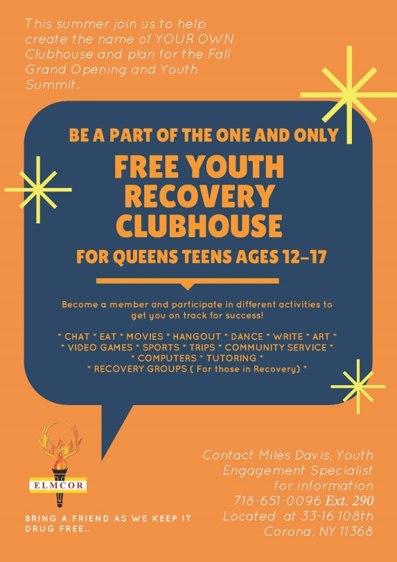 Elmcor's Free Youth Recovery Clubhouse event