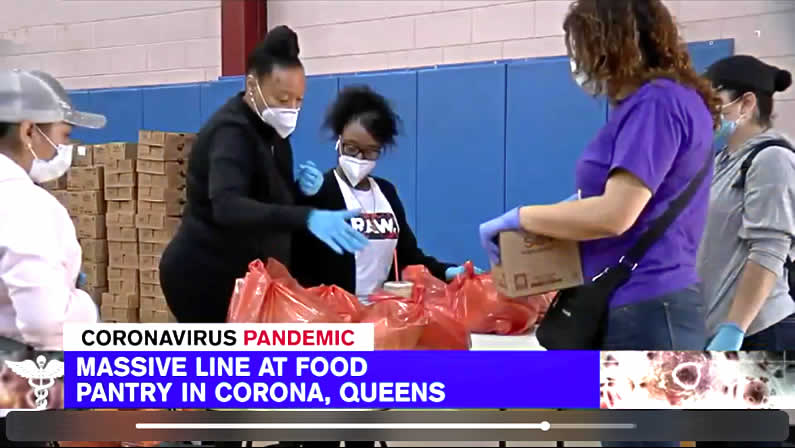WABC-TV Coronavirus food pantry story at Elmcor in Queens