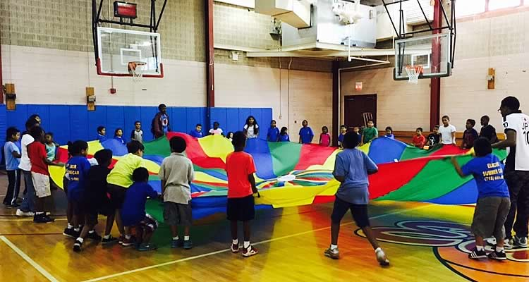 Elmcor gym activity with young teens