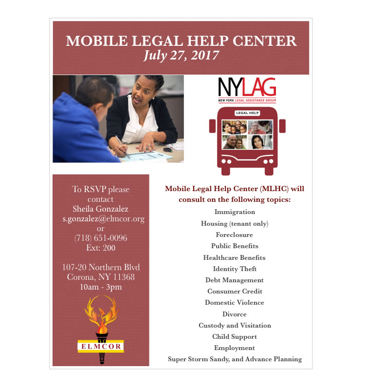 Mobile legal help center at Elmcor Youth and Adult Activity Center in Corona, Queens, NY