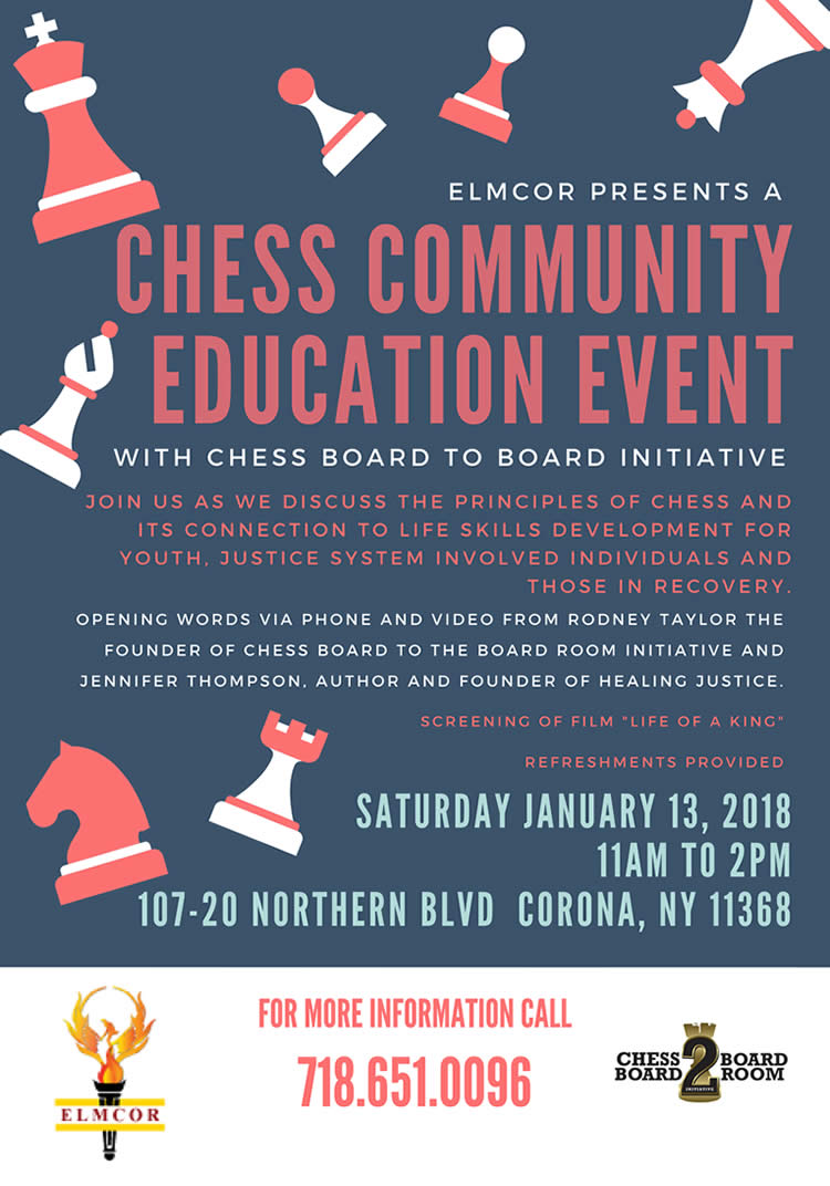 Chess Community Education Event at Elmcor Youth and Adult Activities